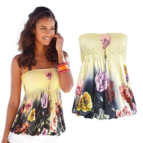 Eenkula OVERMAL donne stampa fuori dalla spalla senza maniche camicetta casuale delle parti superiori T-shirt (L, Multicolore)