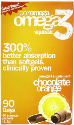 Coromega Omega-3 Supplement, Orange Flavor With A Hint Of Chocolate, 90 Packets (2.5 G)