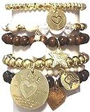 CAT HAMMILL ( キャットハミル ) オーストラリア ラッキー スター ブレスレットセット Choc heart set charcoal gold love bracelet ハート ゴールド ブレスレット セット チャコール ポーチ ゲット 海外 ブランド