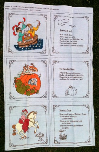 Janet Mccaffery Old Mother Goose Nursery Rhymes Book Kit Fabric Panel (Great for Quilting, Sewing, Craft Projects, & More) Rub-a-dub-dub, Peter Peter Pumpkin Eater, & Banbury Cross (44