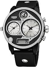 Comprar Alienwork Ohsen Reloj Digital- Analógico Multi-función LCD XXL Oversized Poliuretano blanco negro OS.AD2806-2
