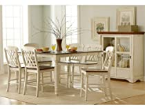 Big Sale Ohana 7 Piece Counter Height Table Set by Home Elegance in 2 Tone Antique White & Warm Cherry
