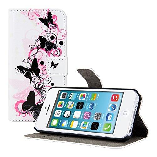 kwmobile Wallet Case Kunstlederhülle für Apple iPhone SE / 5 / 5S - Cover Flip Tasche in Schmetterling Swirl Design mit Kartenfach und Ständerfunktion in Schwarz Pink Weiß