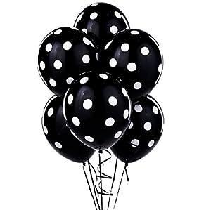 Balloons 11 Inch Premium Latex Black with White Polka Dots by PMU