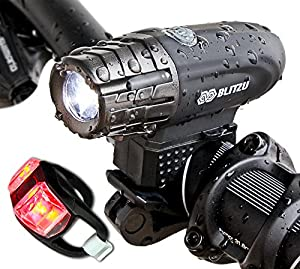 Super Bright USB Rechargeable Bike Light - Blitzu Gator 320 POWERFUL Bicycle Headlight - TAIL LIGHT INCLUDED. 320 Lumens LED Front Light. Waterproof, Easy Installation for Cycling Safety Flashlight