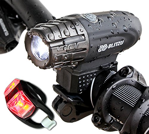 Super Bright USB Rechargeable Bike Light - Blitzu Gator 320 POWERFUL Bicycle Headlight - TAIL LIGHT INCLUDED. 320 Lumens LED Front Light. Waterproof, Easy Installation for Cycling Safety Flashlight (Light Bike Led compare prices)