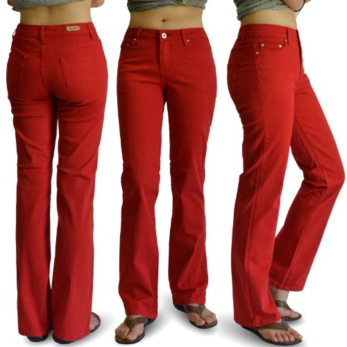 WOMENS RED COLOR DENIM STRETCH JEANS SIZE:15 (Women Color Jeans compare prices)
