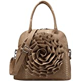 FASH Large Rose Snake Print Textured Top Handle Cross Body Handbag Christmas Sale