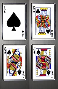 Gift Boxed Set of 4 Fridge Magnets Playing Cards Spades