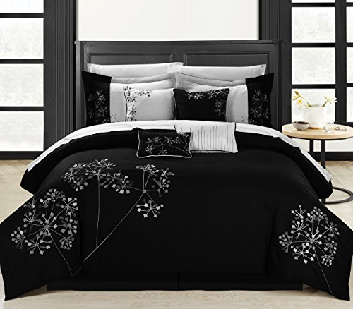 Perfect Home Sydney 12-Piece Embroidered Comforter Set King Size Black And White, Bedskirt Shams And Decorative Pillows Included