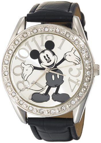Disney Unisex MK1015 Mickey Mouse Silver Dial Black Crocodile Strap Watch