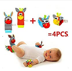 ARRA Fashion 4 Pcs set (2 wrist and 2 foot) Baby Kids Infant Soft Wrist rattles and Sock rattles Handbells Hand Foot Finders Socks Developmental Toys