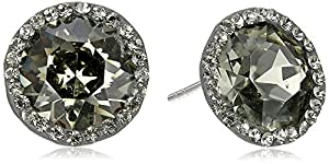 Nina Ingrid Round Cut Swarovski with Black Diamond Halo in Sterling Silver Post Stud Earrings