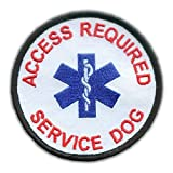 """This round """"Service Dog Access Required"""" patch measures 3.5"""" These patches are embroidered using high quality polyester thread and the edges are stitched and bound to prevent fraying. All of our patches have plastic backing. These patches are..."""