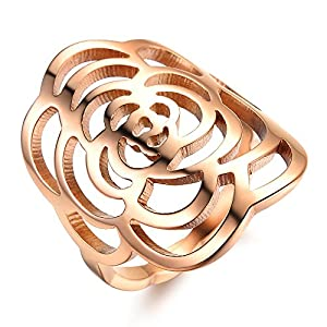 Amazing Jewelry Fashion Women Rings Rose Gold Plated Stainless Steel Finger Band Wedding ring, Comfort Fit Size US Size 5-9 from OPK