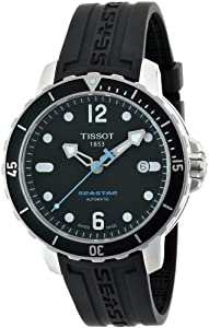 Tissot Men's T0664071705700 Seastar 1000 Black Dial and Strap Watch