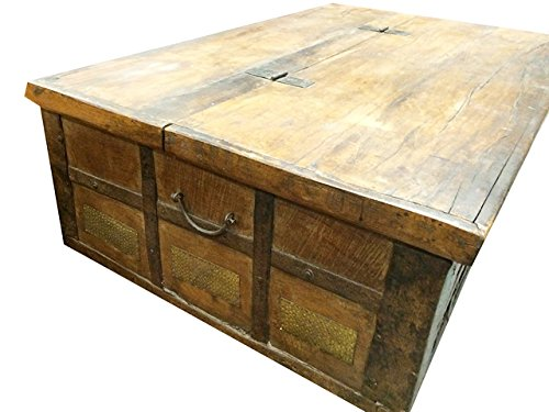 Antique Trunk Chest on Wheels Coffee Table Brass Cladded 2