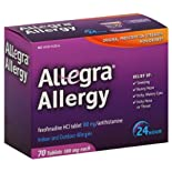 Allegra Allergy, 24 Hour, Indoor and Outdoor, Original Prescription Strength, 180 mg, Tablets 70 tablets