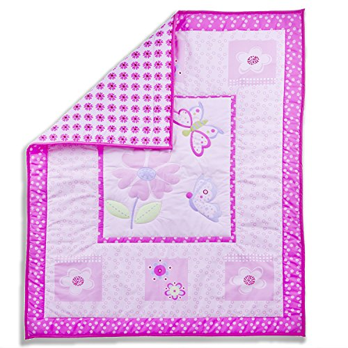 Dream On Me Pink Butterfly and Flower 5 Piece Set Reversible Full Size Crib Bedding Set - 1