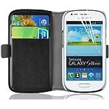 JAMMYLIZARD | Luxuriös Edition | SCHWARZ Ledertasche Flip Case Hülle für Samsung Galaxy S3 Mini mit Ständerfunktion, Kreditkartenfächer und Magnetverschluss, inkl. Displayschutzfolie