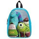 Generic Custom Disney Cartoon Monsters University Printed Deep Sky Blue School Bag Backpack Fit Short Trip PU Leather Large