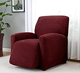 Madison Home Stretch Galway Furniture Slipcover, Woven Checkered Pattern (Recliner, Burgundy)