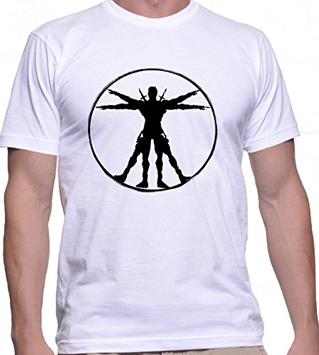 T-shirt da uomo con Virtuvian Deadpool stampa. Girocollo. Medium, Bianca