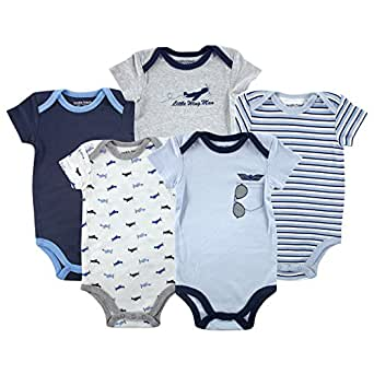 Luvable Friends Hanging 5 Pack Bodysuits, Airplane, 0-3 Months