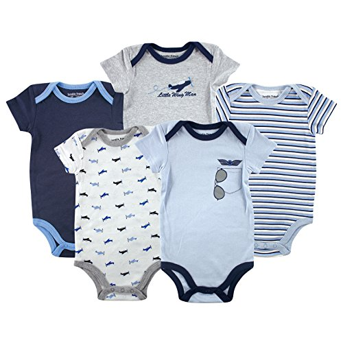 Luvable Friends Hanging 5 Pack Bodysuits, Airplane, 3-6 Months