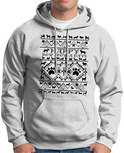 Bow Wow A Days Ugly Christmas Sweater With Dogs Premium Hoodie Sweatshirt Medium Ash