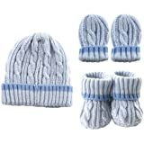 Cableknit Hat, Mitten & Booties Gift Set