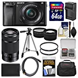 Sony Alpha A6000 Wi-Fi Digital Camera & 16-50mm & 55-210mm Lens with 64GB Card + Case + Battery/Charger + Tripod + Kit