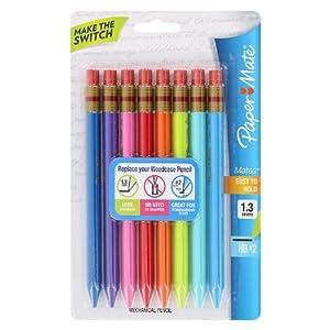 Paper Mate Mates 1.3mm Mechanical Pencils, 8 Colored Barrel Mechanical Pencils (1862168)