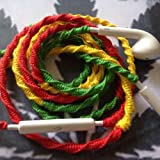 Earbuds w/mic RASTA Tangle Free, Hand Wrapped Headphones in Green, Yellow, and Red Made for Apple iPhone 5, 5c, 5s, iPad, iPod, EarPods, Headphones