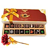 Valentine Chocholik's Belgium Chocolates - Yummy Dark And Milk Chocolates With 24k Red Gold Rose