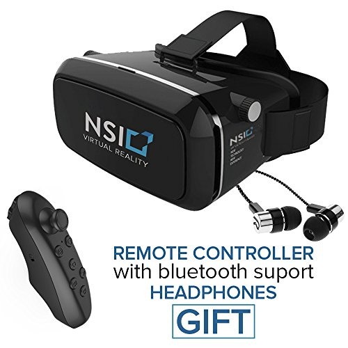 NSI Virtual Reality Headset - Best 3D VR or Virtual Reality Glasses - HD Immersive 3D Gaming Glasses - Magnetic Front Cover, Adjustable Strap - Bonus Remote & Headphones