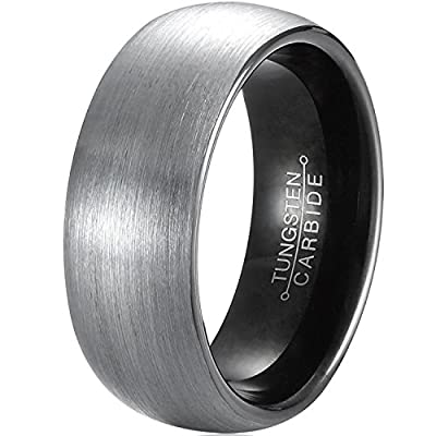 MNH Mens Tungsten Carbide Black Band - Comfort Fit Brushed Matte Finish