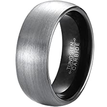 buy Mnh Men'S Tungsten Carbide Wedding Band Black 8Mm Comfort Fit Brushed Matte Finish Ring Size 10