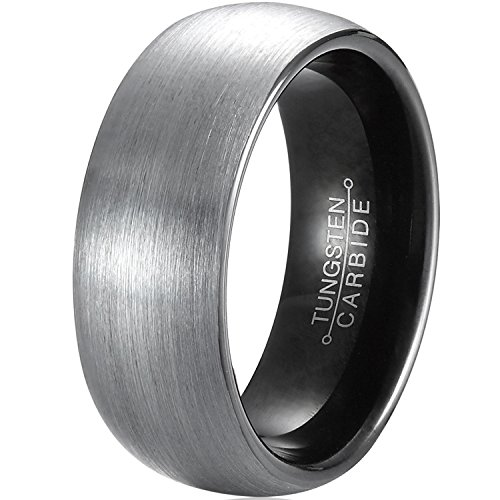 mnh mens tungsten carbide wedding band black 8mm comfort fit brushed matte finish rings