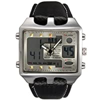 Men Black Leather Army Waterproof Alarm Date Analog Quartz Sport Wrist Watch