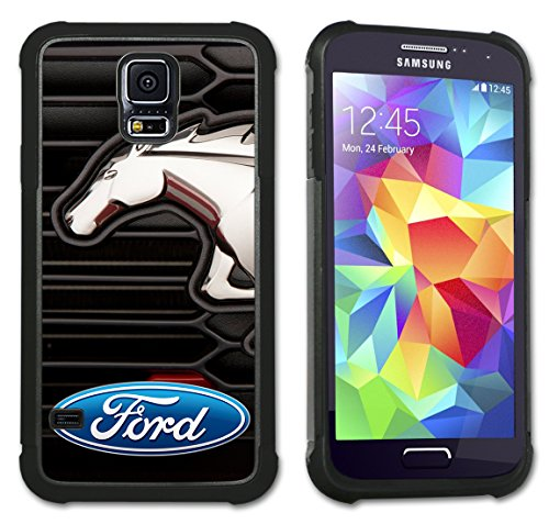 Maximum Protection Case / Cover with Cushioned Corners for Samsung Galaxy S5 - Ford Mustang Grill Logo (Ford Galaxy S5 Phone Case compare prices)