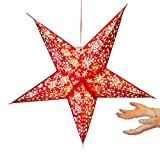 Xmas Decoration star lantern without lights - 5 point paper stars - White on Red snowflake pattern!