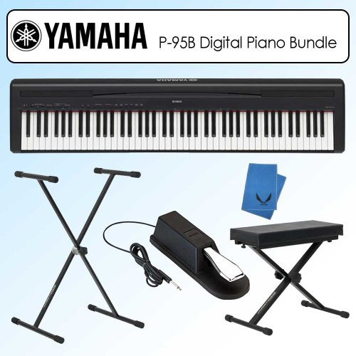 get cheap yamaha p95b p 95b graded hammer standard black digital piano bundle nadujingmawoi. Black Bedroom Furniture Sets. Home Design Ideas