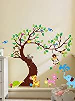 Ambiance-sticker Vinilo Decorativo Giant For Kids Tree, Monkeys And Elephant