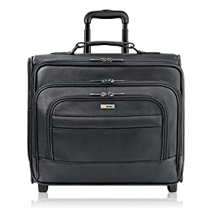 Solo Classic Collection Leather CheckFast Rolling Laptop Overnighter Case, Holds Notebook Computer up to 15.6 Inches, Black (D964-4)