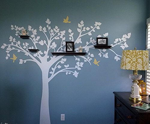 "PopDecors - Big tree with love birds (100"" W) Long Right Branch - Beautiful Tree Wall Decals for Kids Rooms Teen Girls Boys Wallpaper Murals Sticker Wall Stickers Nursery Decor Nursery Decals PT-0116-1-V1 Long Right"