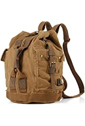 Military Canvas Rucksack Travel Hiking Backpack Bag Dark Brown- Serbags Brand
