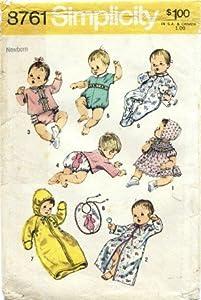 Simplicity 8761 Sewing Pattern Newborn Babies Layette