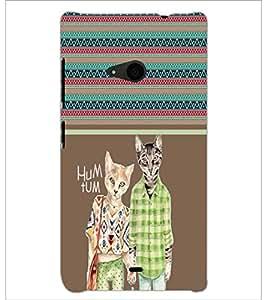 PrintDhaba Cats D-2755 Back Case Cover for MICROSOFT LUMIA 535 (Multi-Coloured)