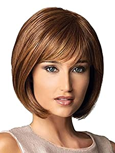 AmorWig Fashion Bob Straight Synthetic Fbier Brown Hair Wig With Bangs For Women